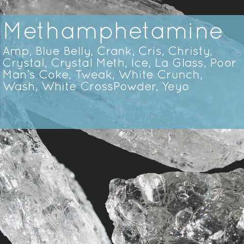 image of crystalline meth with text