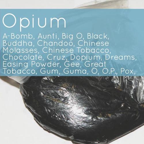 image of black opium in bag with text